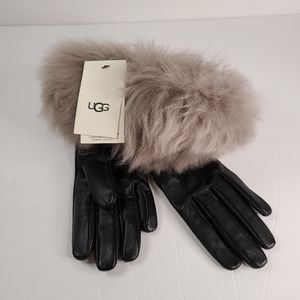 UGG Stormy Gray Leather Handsewn Multi Fur Gloves